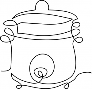 line drawing of slow cooker